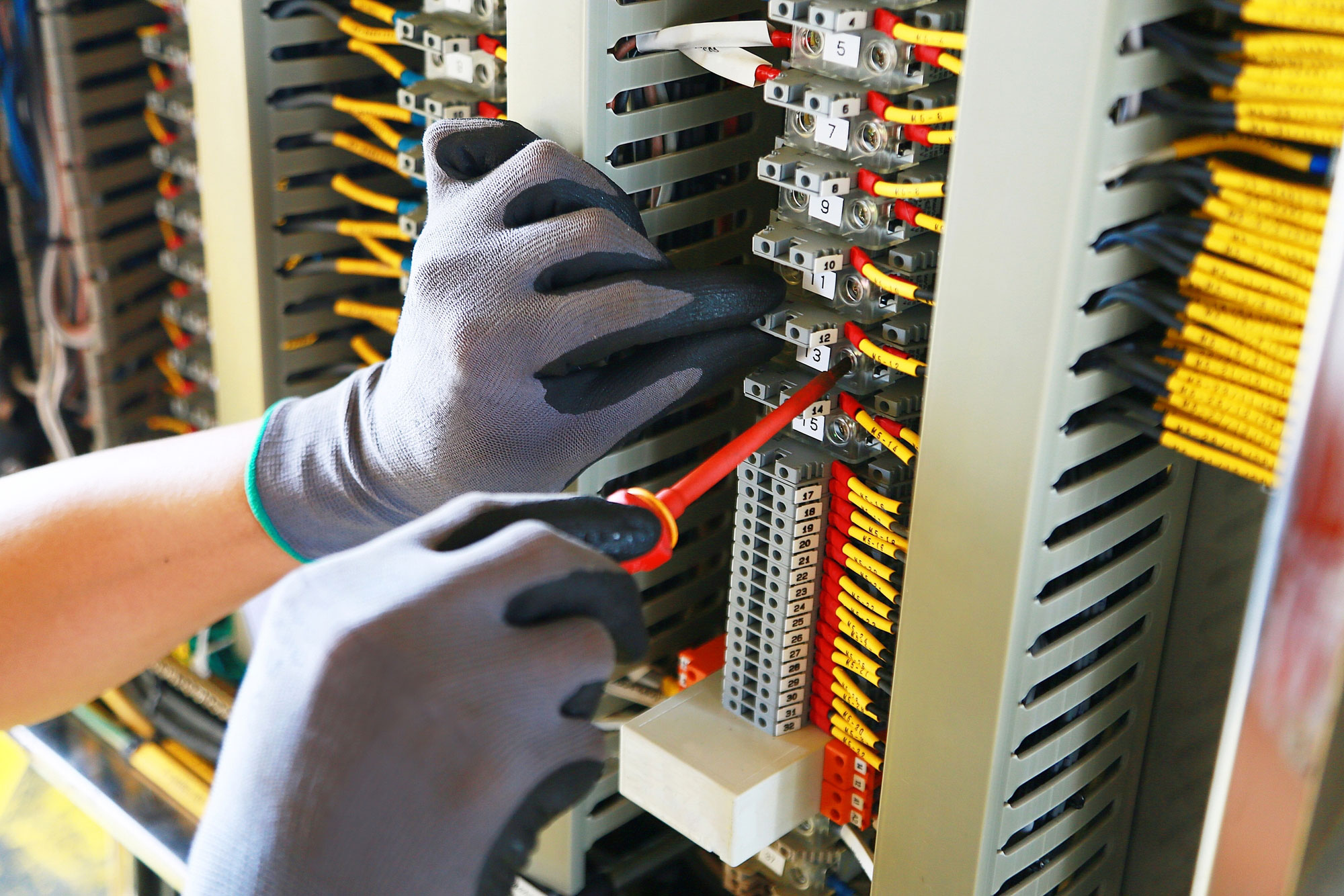 Electrical device install in control panel for support program and control function by PLC. routine visit check equipment by technician.